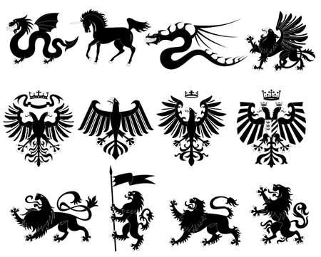 heraldic animals set   Vector