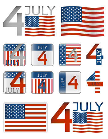 4th of july American independence day. Set of icons and flags Vector