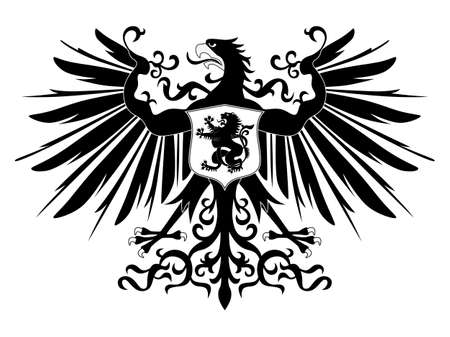 Silhouette of heraldic eagle with shield Vector