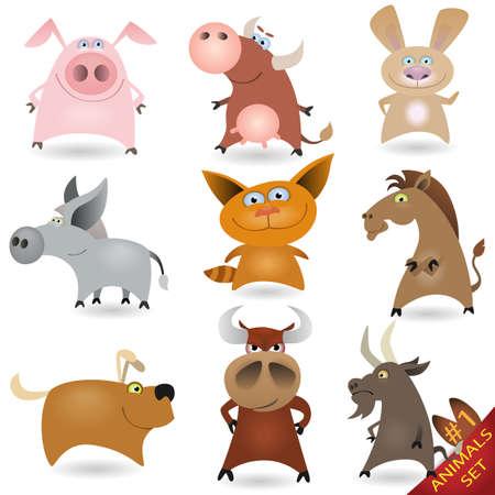 critter: Conjunto de animales de dibujos animados # 1 Vectores