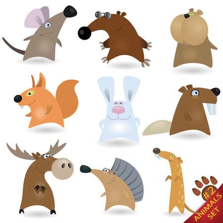 biber: Cartoon Tiere Set # 2 Illustration