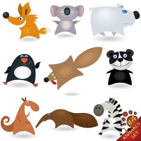 critter: Conjunto de animales de dibujos animados # 4 Vectores