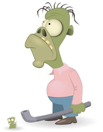 cursed: Cartoon zombie isolated on white background #2 Illustration