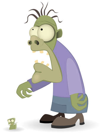 cursed: Cartoon zombie isolated on white background #4