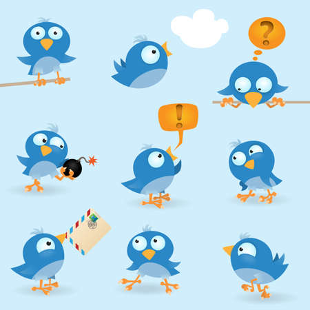 cartoon birds: Vector funny blue birds icon set Illustration