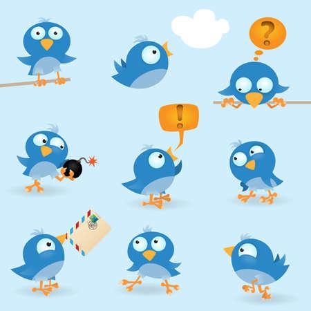 duif tekening: Vector grappige blue birds icon set Stock Illustratie