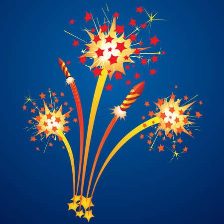カラフルな花火は、夜空に飛ぶロケット  イラスト・ベクター素材
