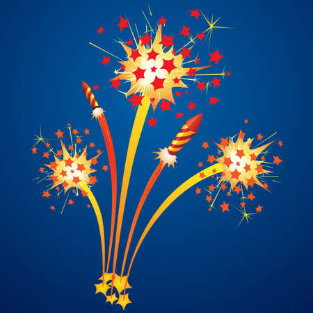 깜짝: 밤 하늘에 화려한 불꽃 놀이와 비행 로켓 일러스트