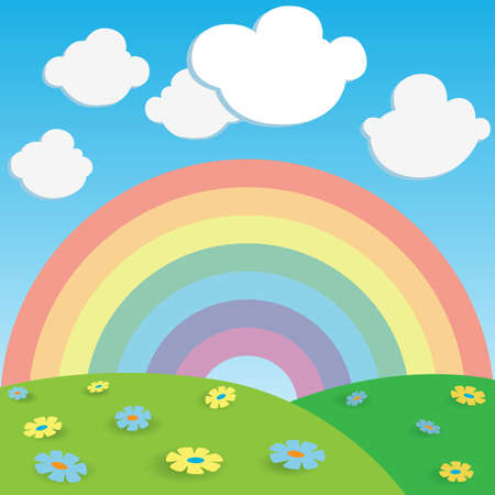 abstract cartoon background with rainbow and flowers