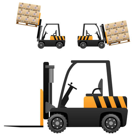 box weight: Forklift loader with boxes Illustration