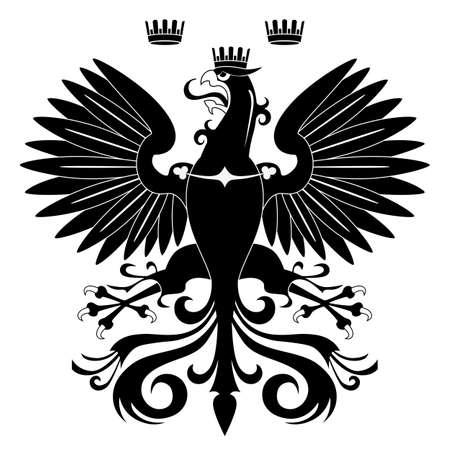 silhouette aquila: Sagoma Aquila araldica isolato su sfondo bianco