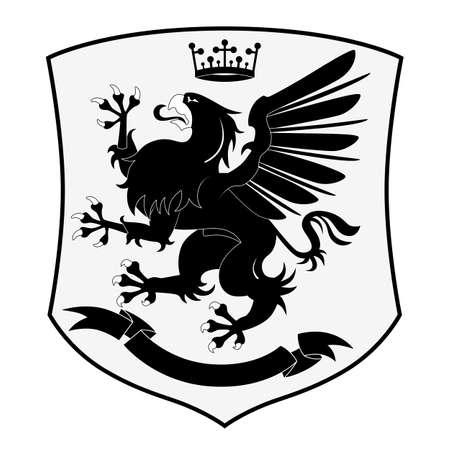Heraldic Griffin isolated on white background Illustration