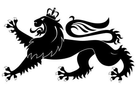 Heraldic lion isolated on white background Ilustração