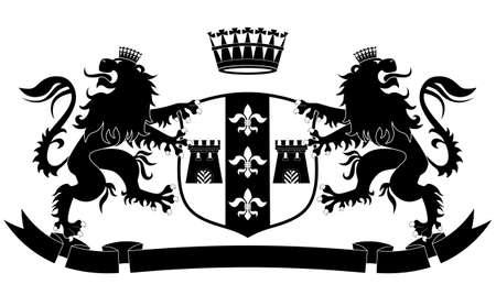 2 つのライオンズと白い背景の上の王冠の紋章  イラスト・ベクター素材