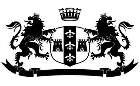 Coat of arms with two lions and crown on white background