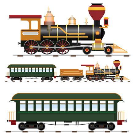 steam locomotives: Retro steam train with coach