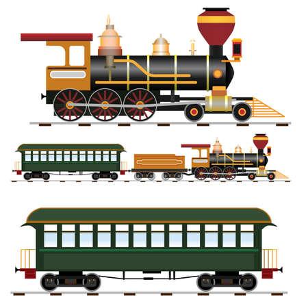 treno espresso: Treno a vapore retrò con coach Vettoriali