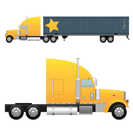 truck on highway: Heavy cargo truck for a international transportation Illustration