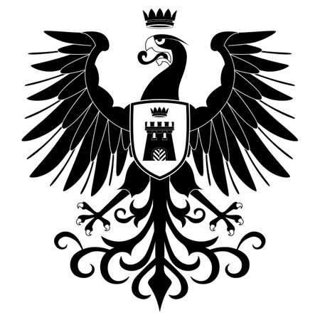 epic: Black heraldic eagle silhouette isolated on white background