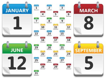 månader: Vektor kalender ikoner Illustration