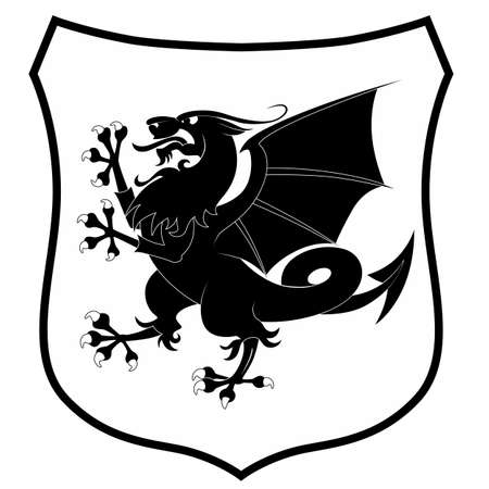 Heraldic dragon isolated on white background