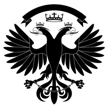 Double-headed heraldic eagle with crown on white background