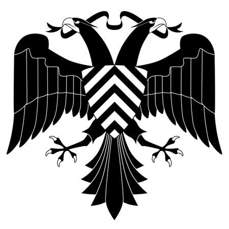 doubleheaded: Double-headed heraldic eagle isolated on white background
