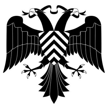 Tweekoppige adelaar op een witte achtergrond Stock Illustratie