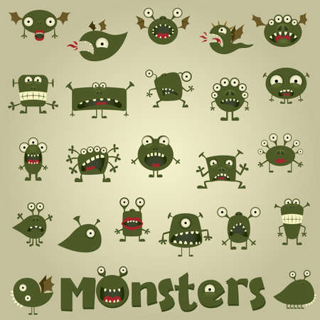 doodle monster set Vectores