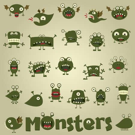 doodle monster set Vettoriali