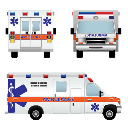 autom�vil caricatura: Coche ambulancia aislada sobre fondo blanco Vectores