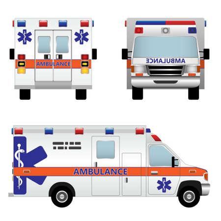 serpiente caricatura: Coche ambulancia aislada sobre fondo blanco Vectores