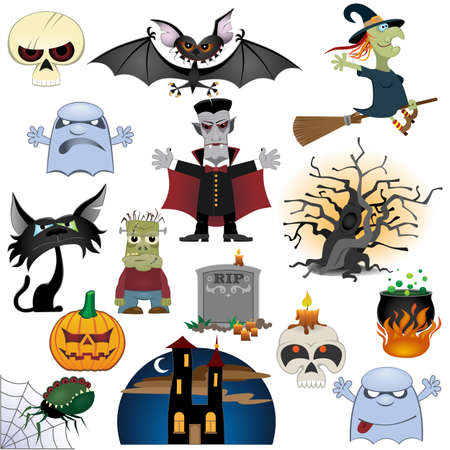 Halloween icons set isolated on white background