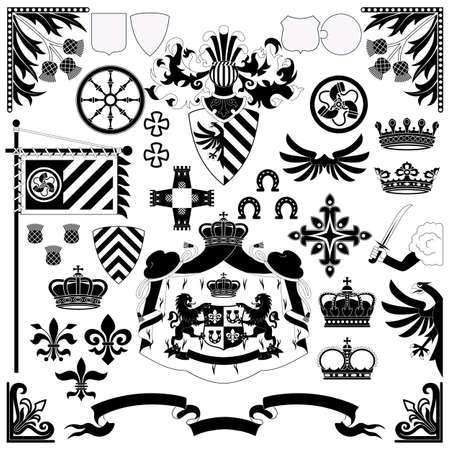 Heraldic set for your design projects Vector