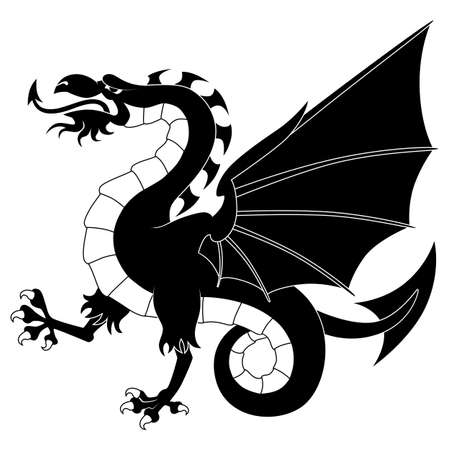 Silhouette of standing heraldic dragon isolated on white background