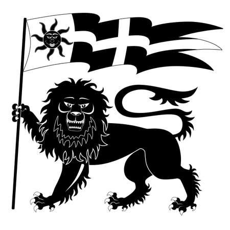 aristocracy: Heraldic lion with banner Illustration