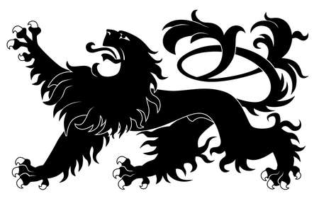 白い背景で隔離された紋章のライオン  イラスト・ベクター素材