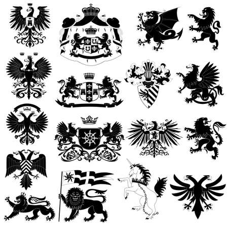 heraldic eagle: Coat of arms and heraldic animals set Illustration