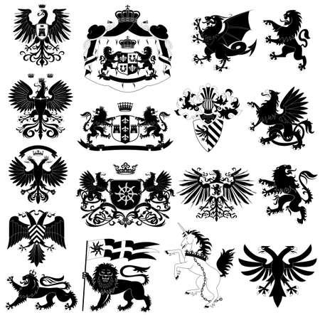 escudo de armas: Escudo de armas y animales heráldicos Vectores