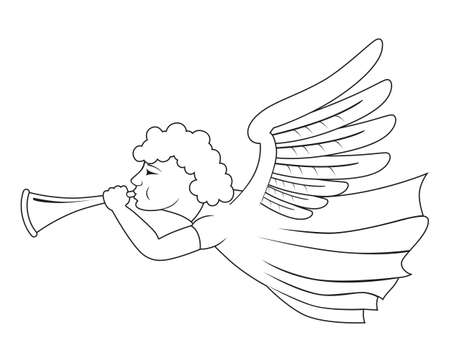 angel with trumpet (isolated on white) Vector