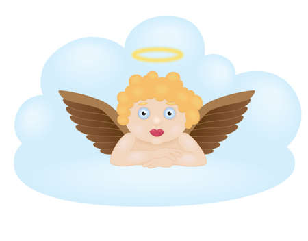 Cartoon angel sitting on cloud Vector