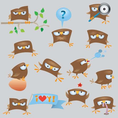 worm cartoon: Set of cartoon funny sparrow birds