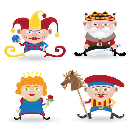 king and queen of hearts: Set of funny people (knave, king, queen and joker isolated on white background) Illustration