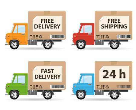 fast delivery: Delivery truck isolated on white background (side view)