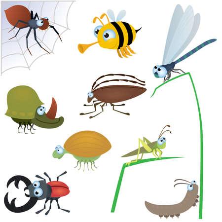 面白い虫セット #2  イラスト・ベクター素材