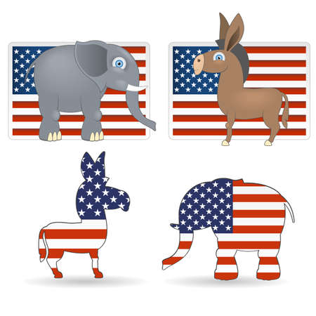 republican party: The democrat and republican symbols - donkey, elephant and flag of USA