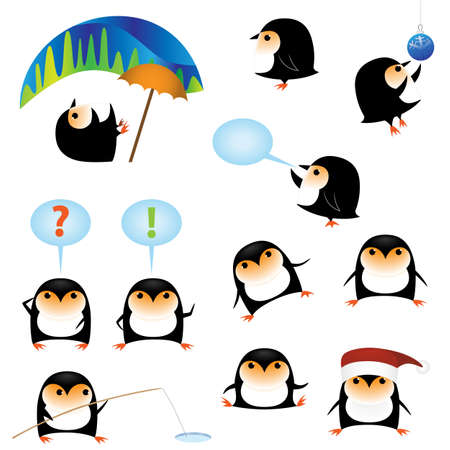 Collection of funny cartoon penguins isolated on white Vector