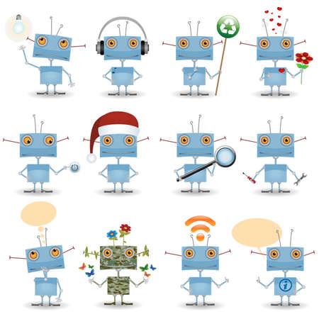 面白い漫画ロボット セット  イラスト・ベクター素材