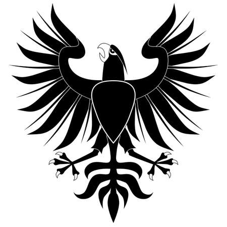 Black heraldic eagle with shield on white background Vector