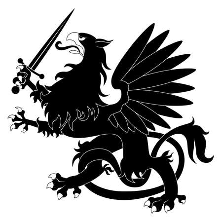 griffin: Black heraldic griffin with sword on white background Illustration